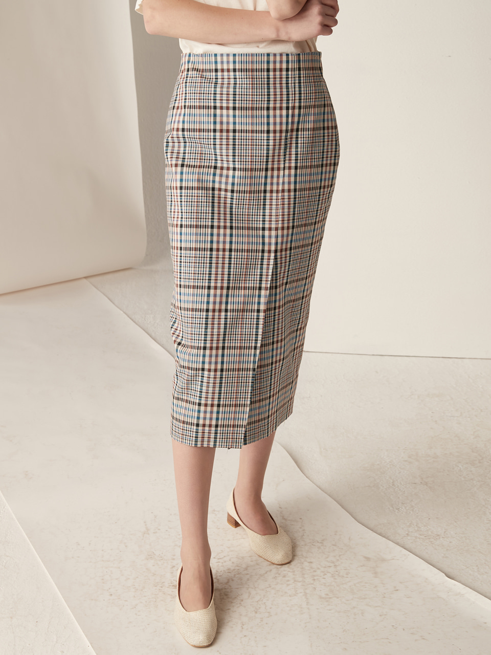 H-line slit skirt - check