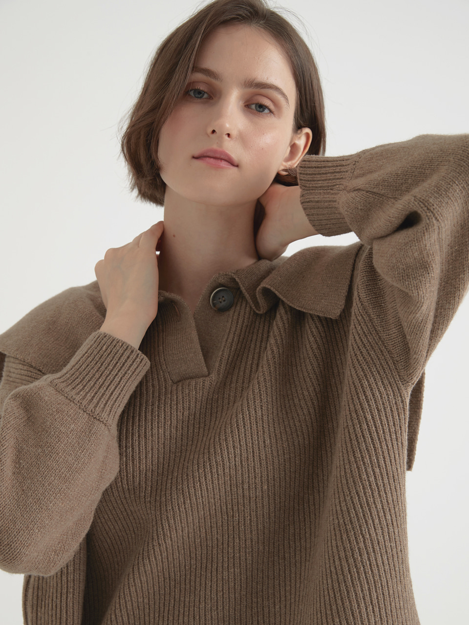 Cashmere blended sailor pullover - Cocoa