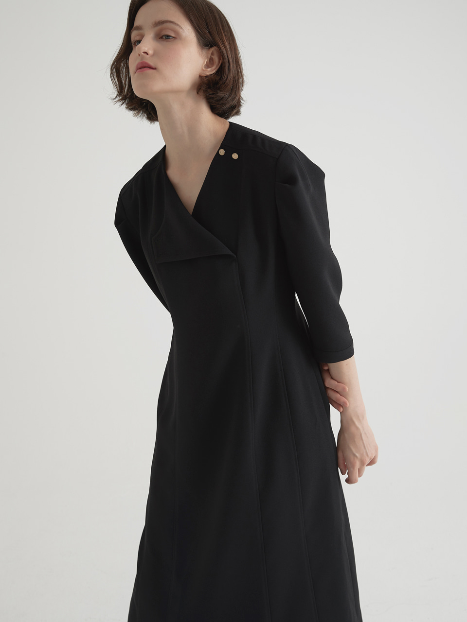 [2/5예약배송]2 way neckline one-piece - Black