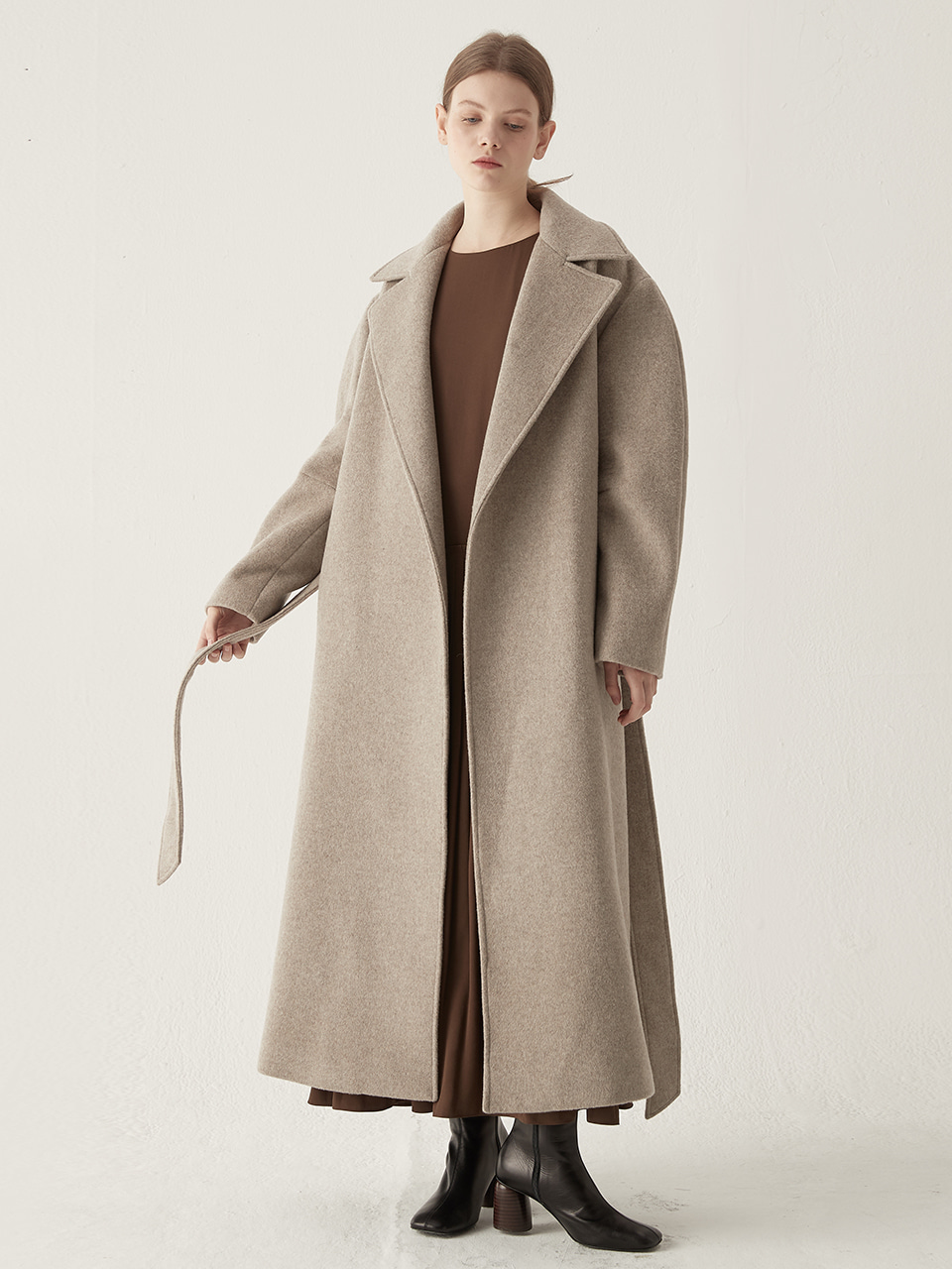 Cashmere blended maxi coat - Oatmeal