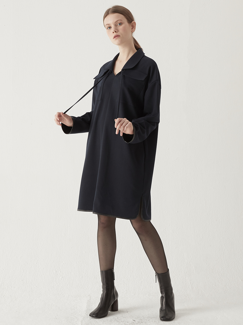 Two pocket collar one-piece - Navy