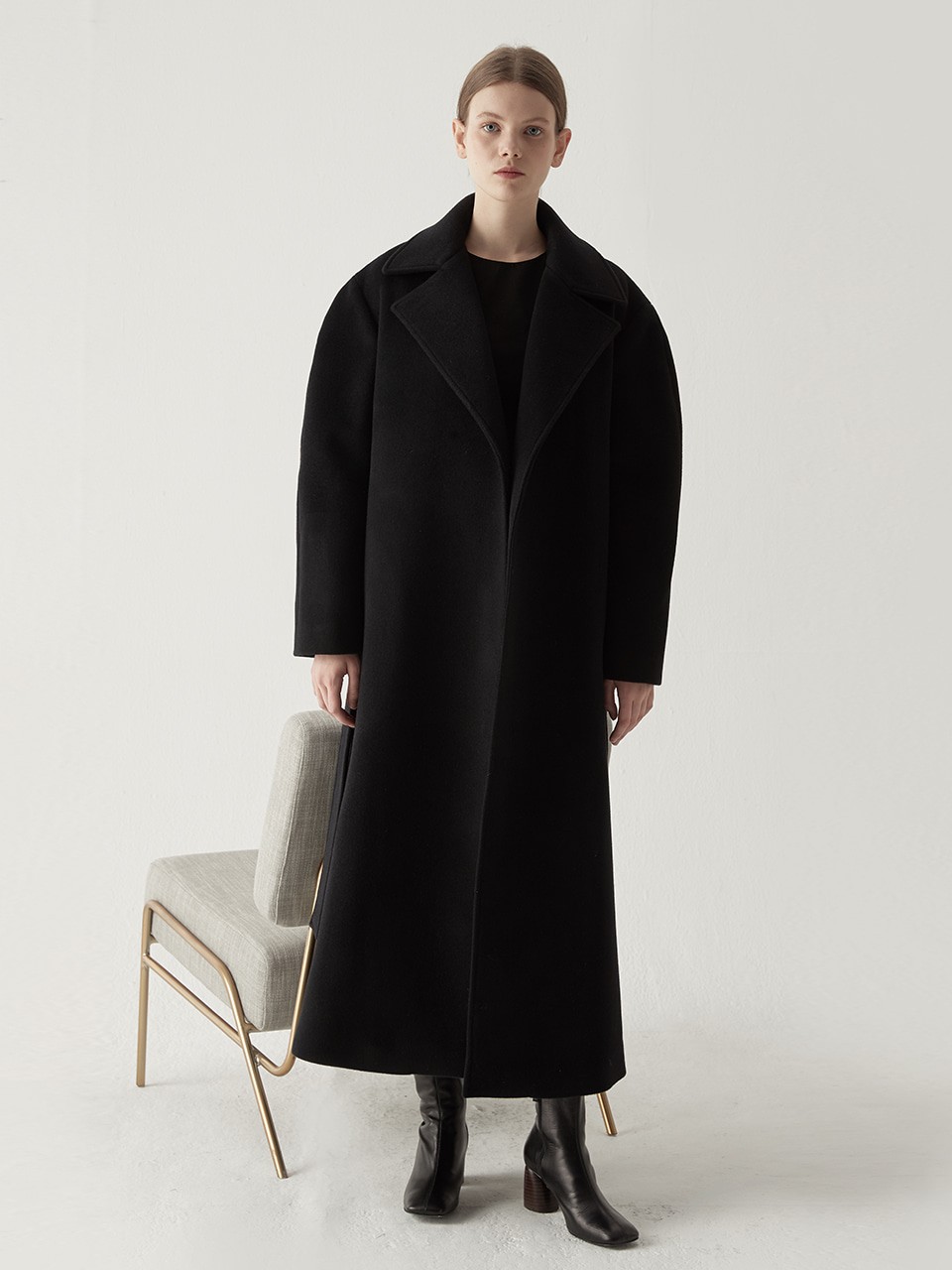 Cashmere blended maxi coat - Black