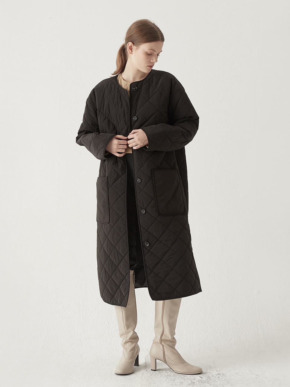 Embroidery padding coat - Black