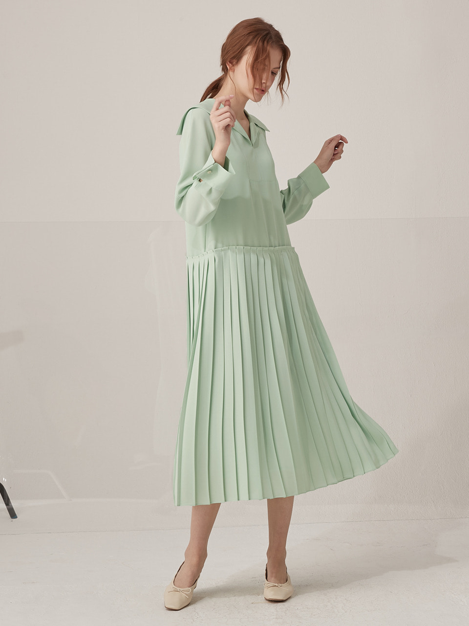 Elly pleated dress - Mint
