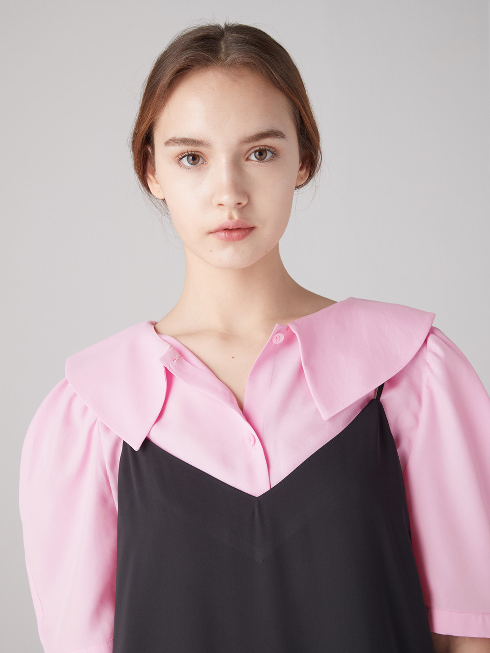 Flat collar blouse - Pink