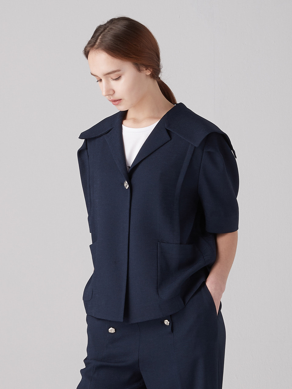 Sailor collar short jacket - Navy