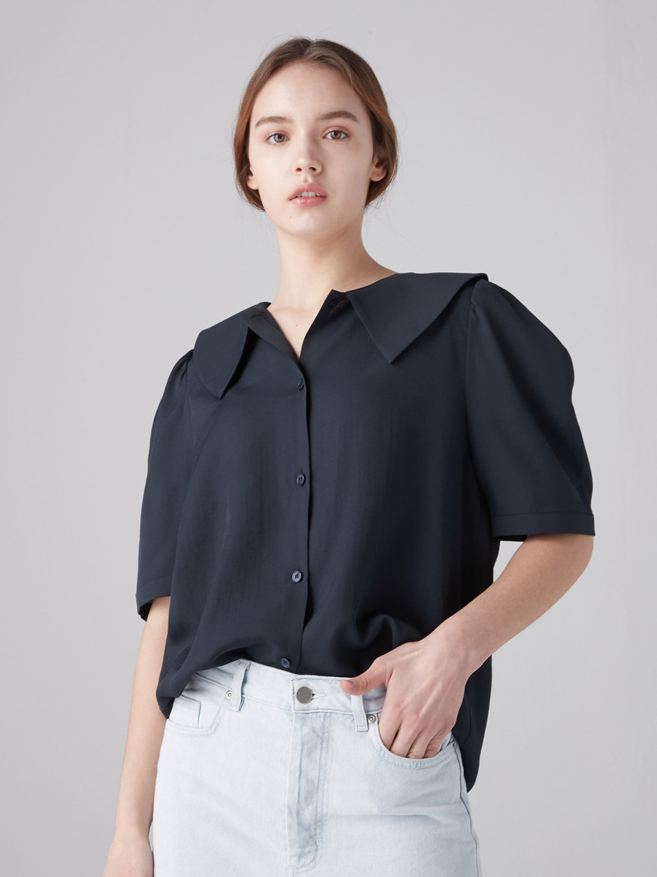 Flat collar blouse - Navy