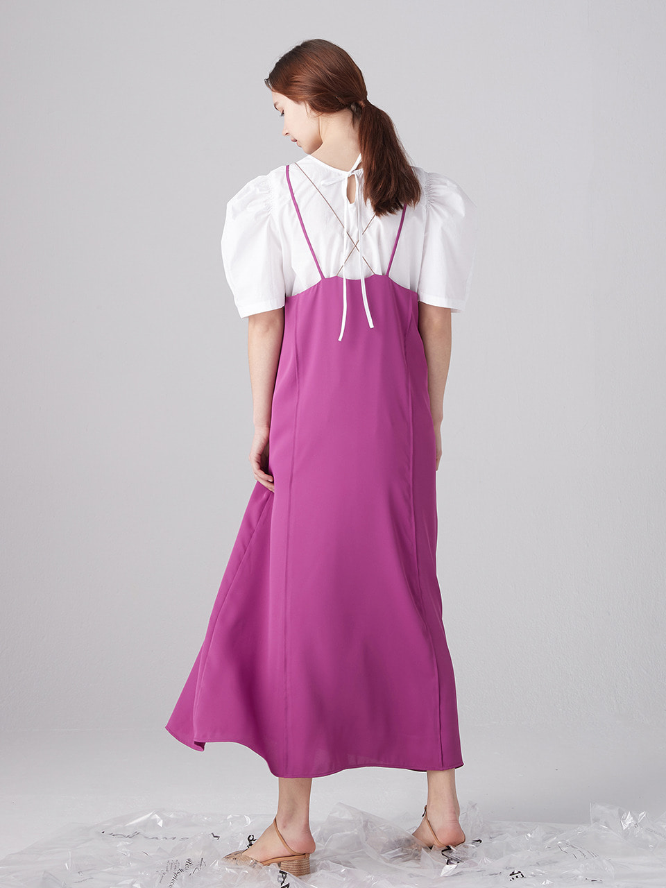 Back point layered dress - Magenta