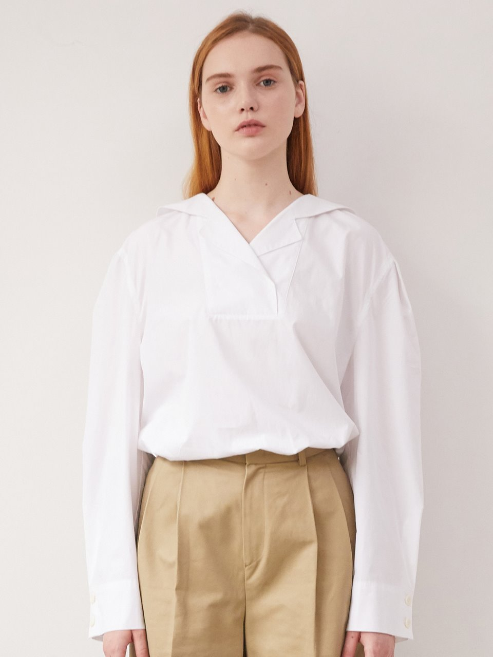 Sailor collar blouse - White