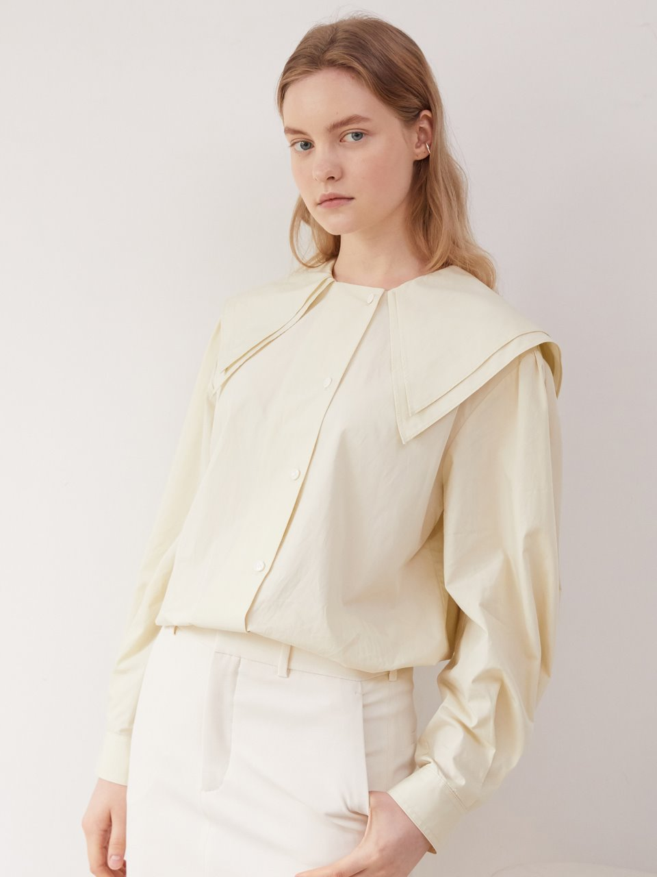 Double collar blouse - Honeydew