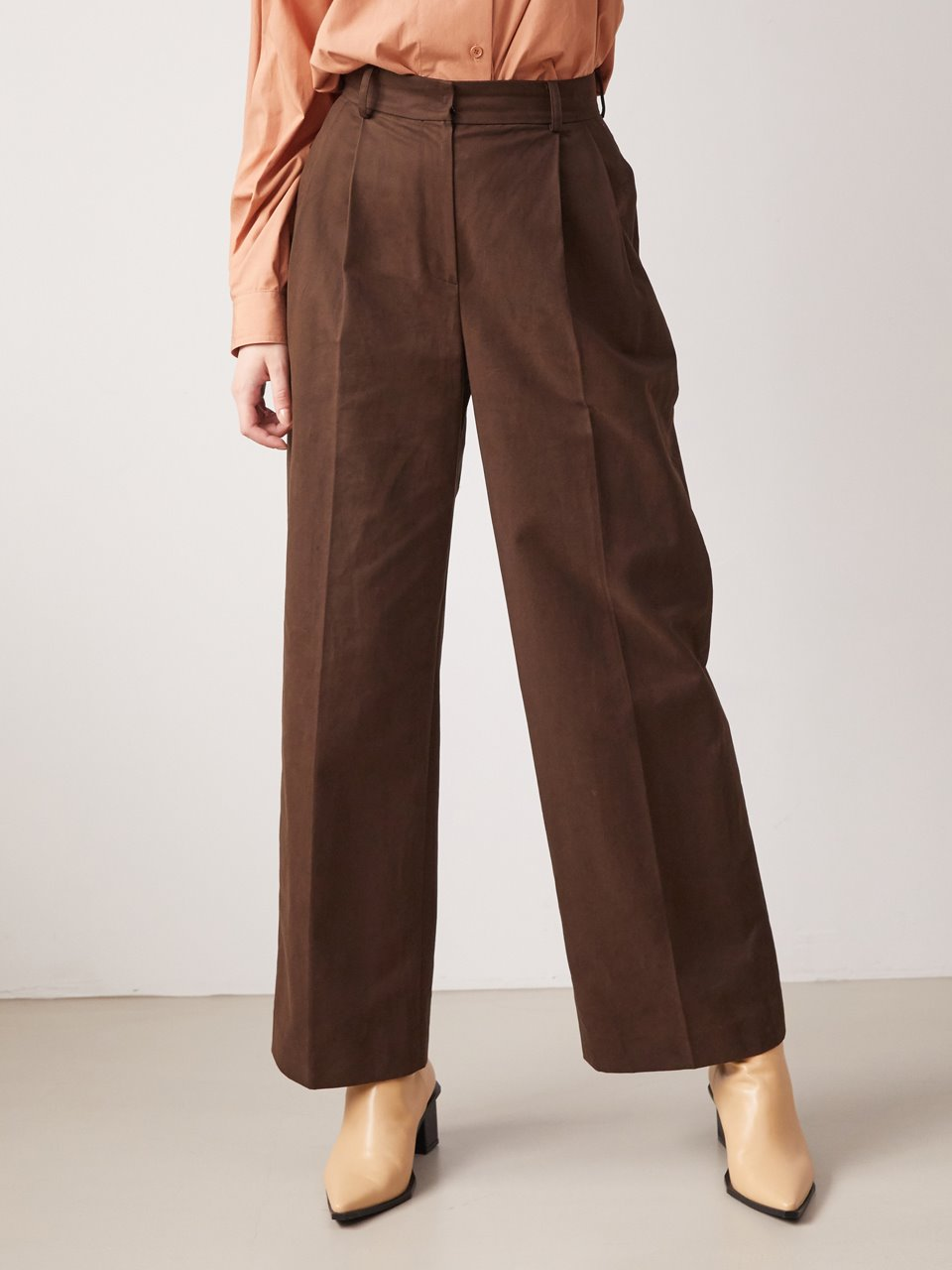 Wide cotton tuck pants - Brown