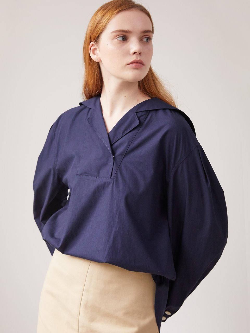 Sailor collar blouse - Navy