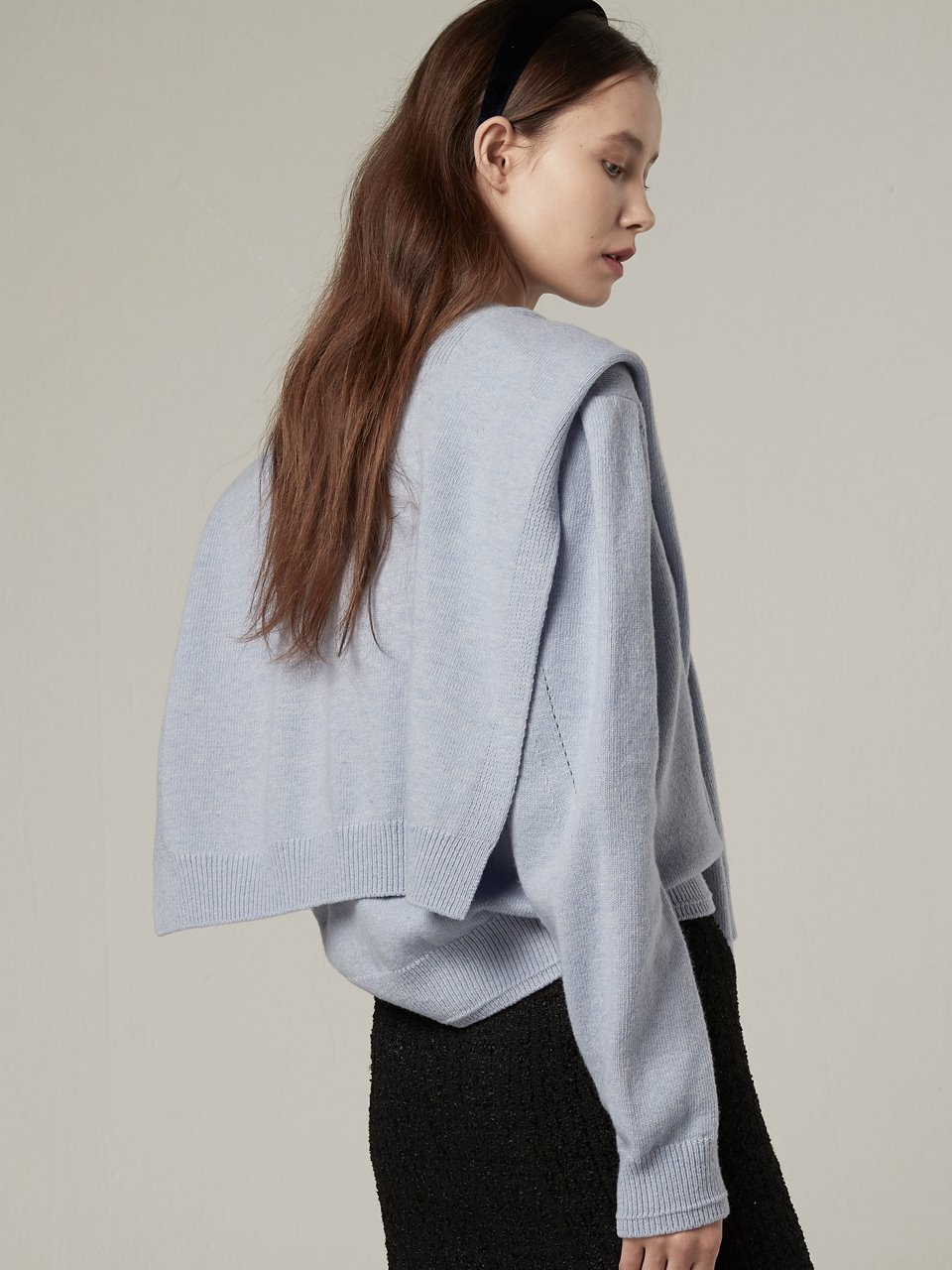 Wool muffler layered pullover - Sky blue