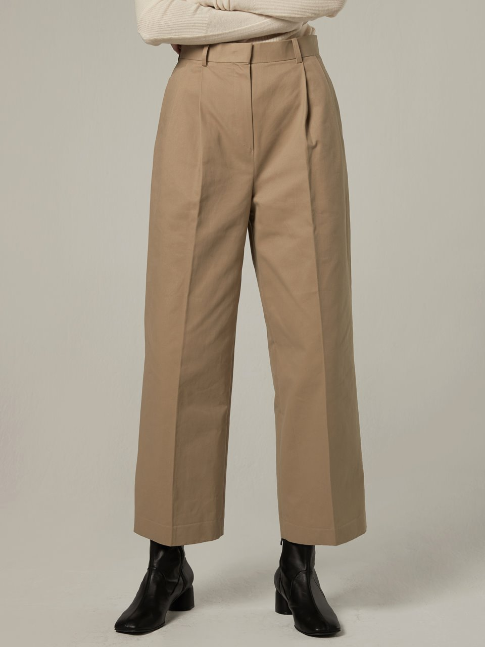 Wide cotton tuck pants - Beige