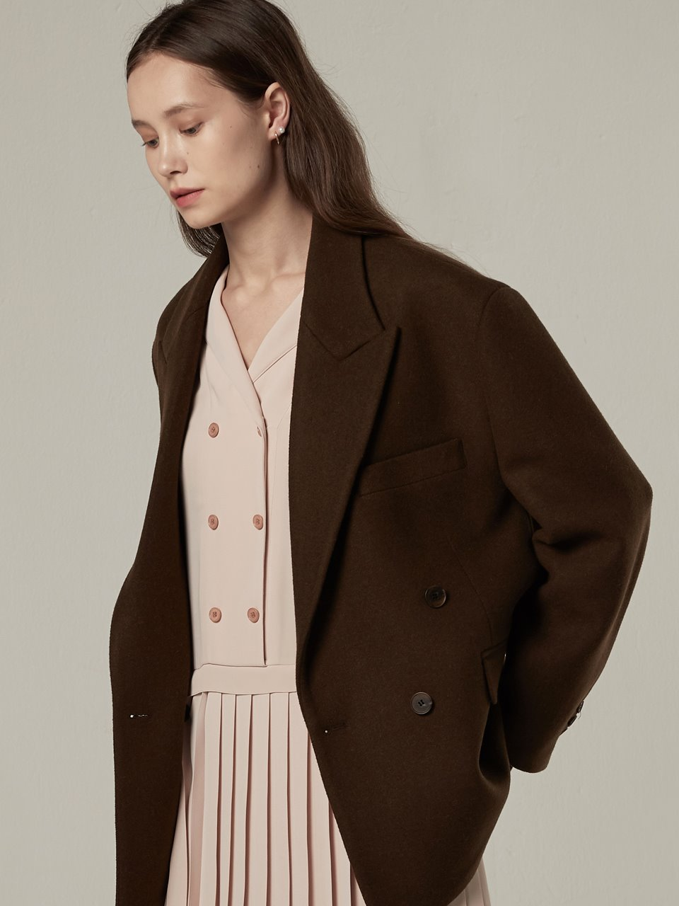 Overfit mixed wool jacket - Brown