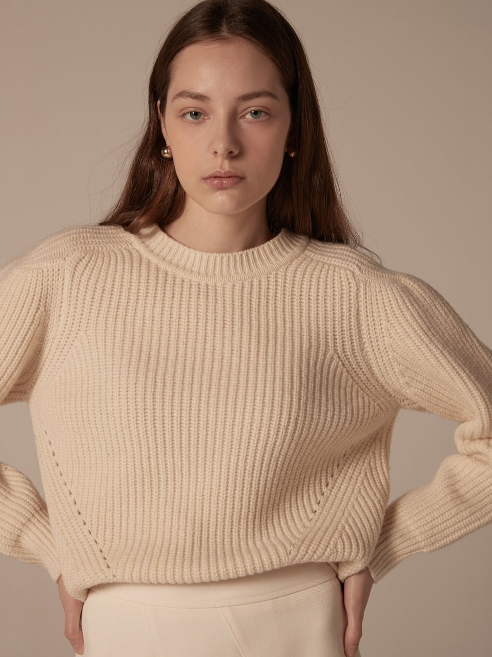 Puffy shoulder pullover - Ivory