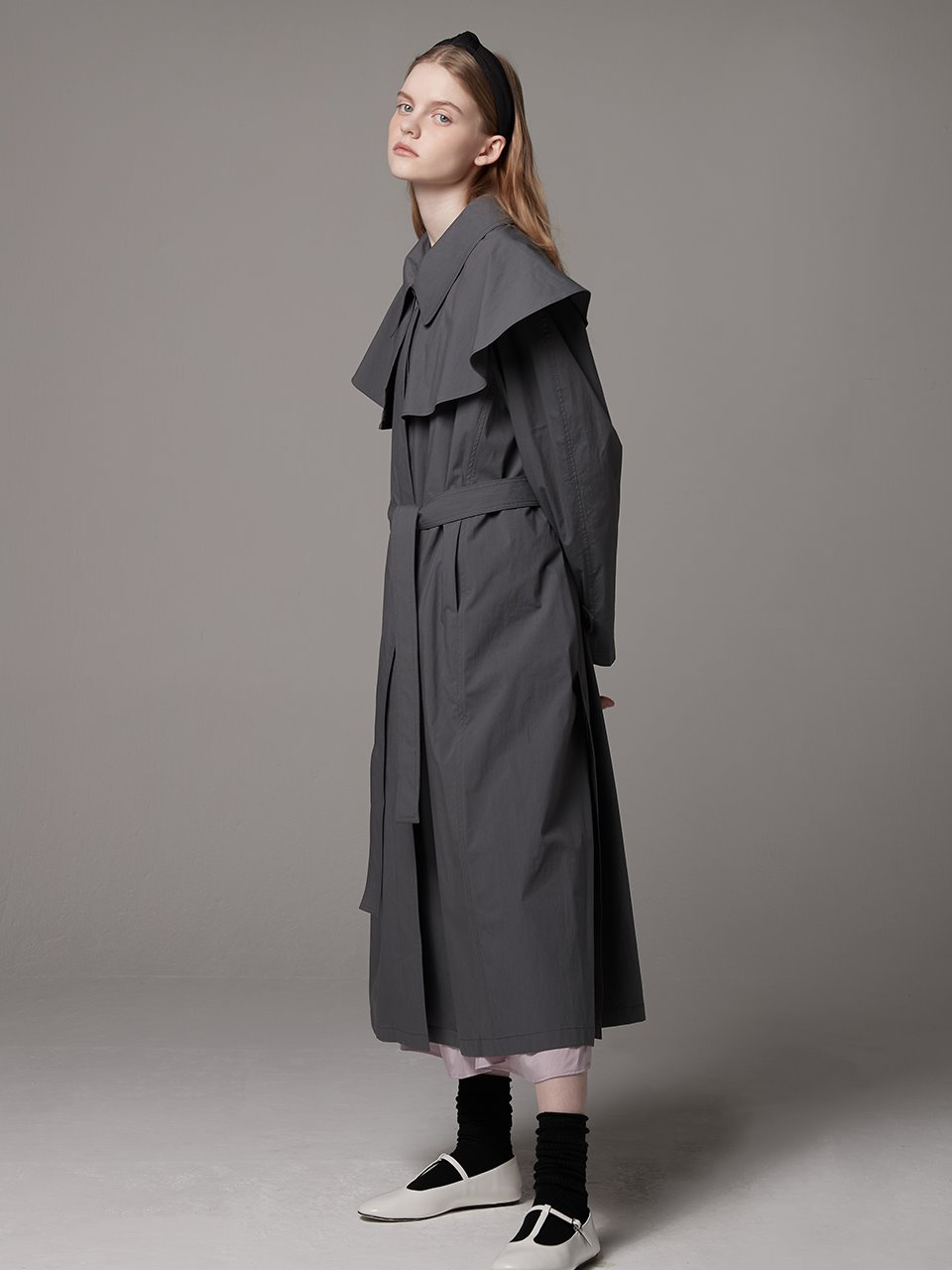 Detachable collar trench coat - Gray