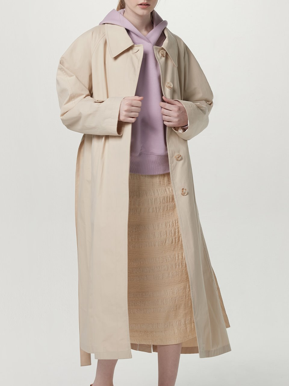 Detachable collar trench coat - Cream beige