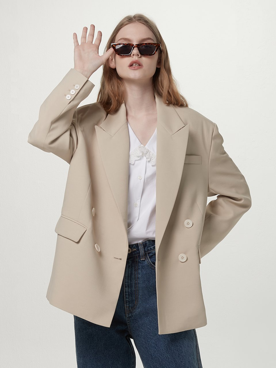 [BE:able] Overfit double jacket - Light beige