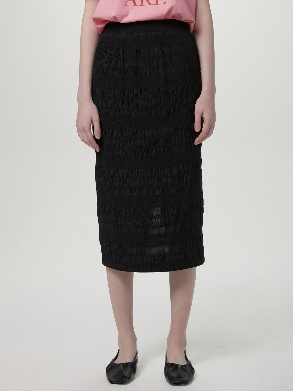 Crinkle banding skirt - Black
