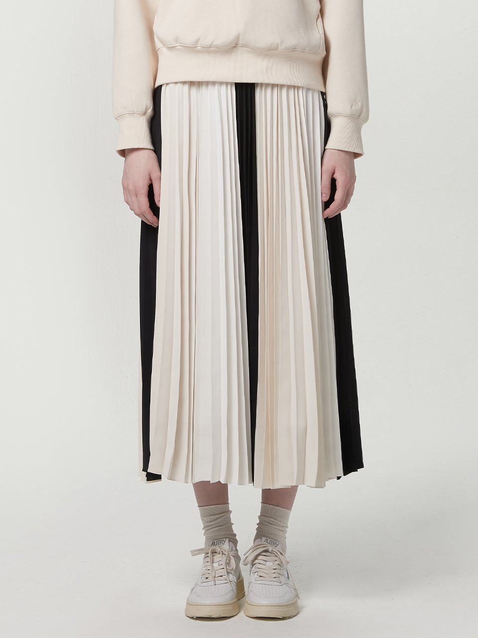 Mix pleated skirt - Ivory mix