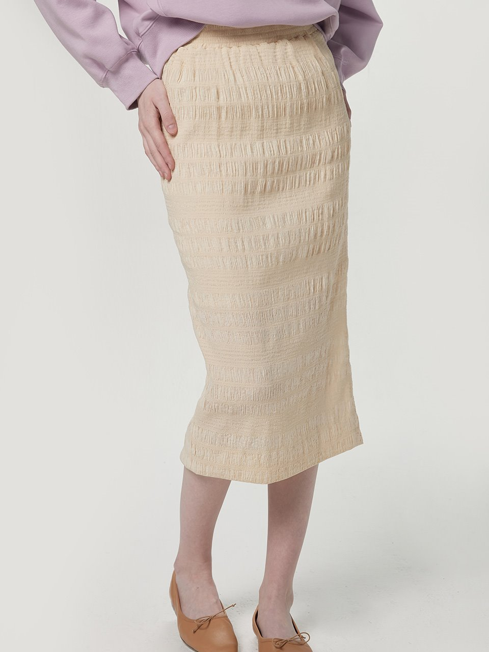 Crinkle banding skirt - Light yellow