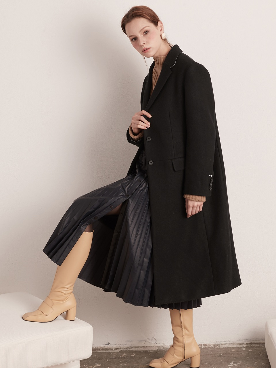 Classic Single Long Coat-Black