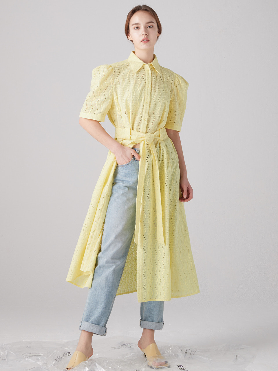 Eyelet shirts dress - Lemon