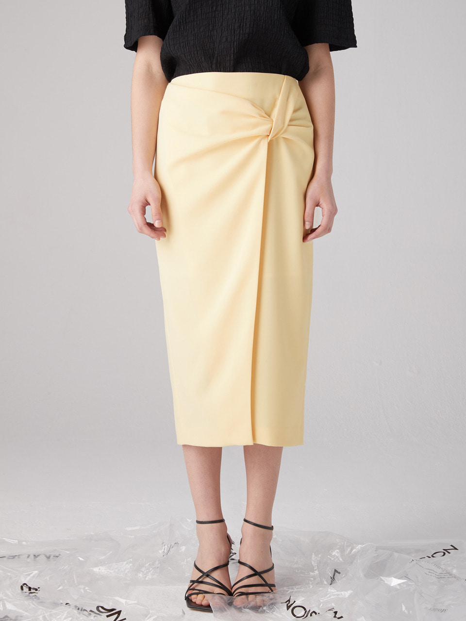 Knotted wrap skirt - Yellow