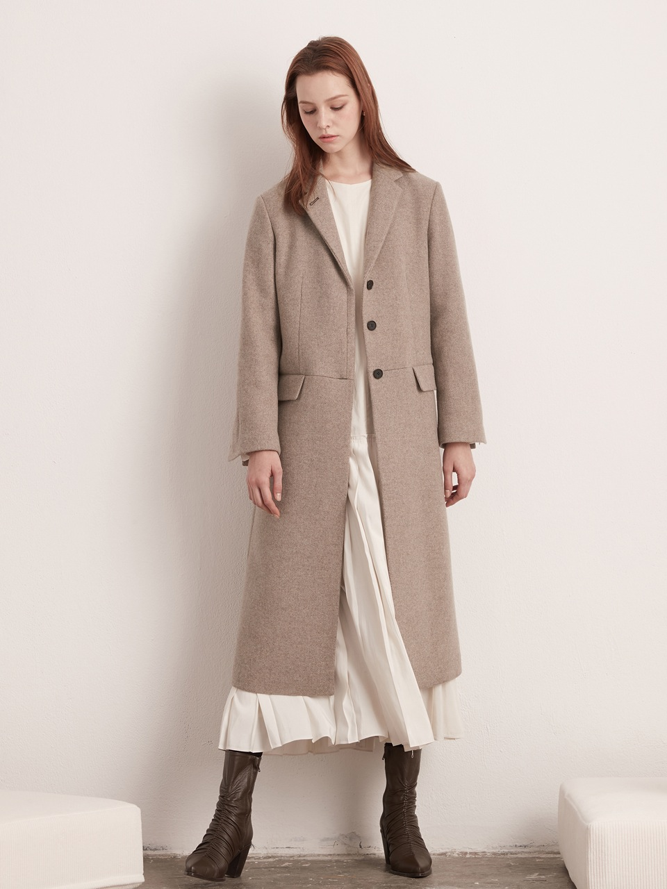 Classic Single Long Coat- Oatmeal
