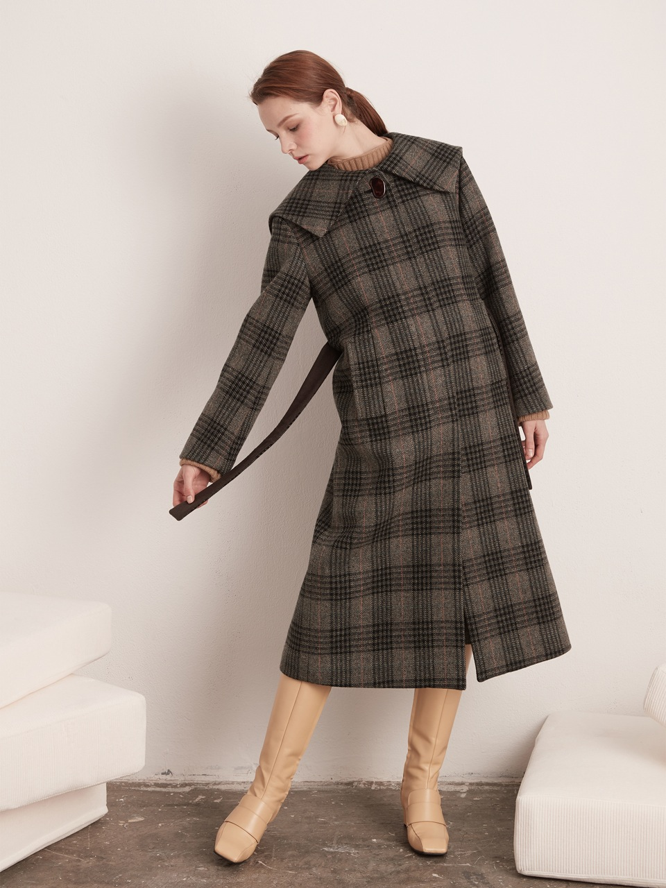 Sailor Long Coat - Brown Check