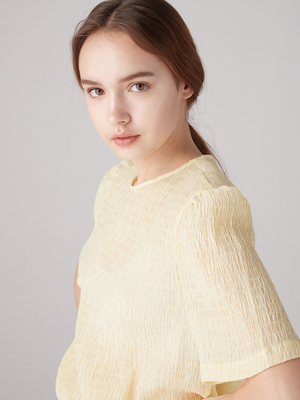 Crinkle top - light yellow