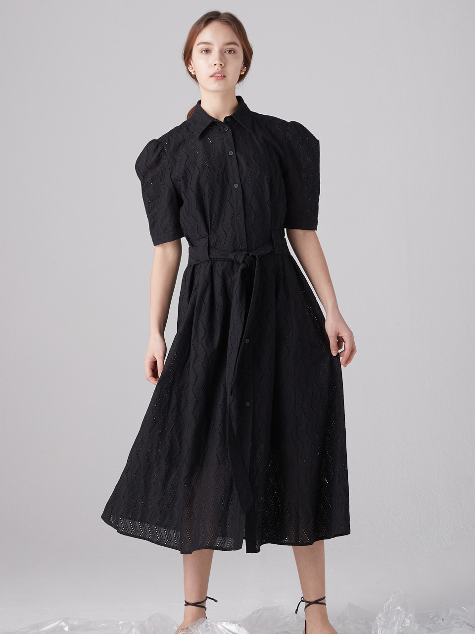 Eyelet shirts dress - Black